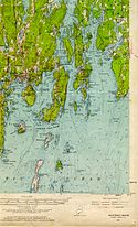 A USGS map depicts a small piece of Maine's fjordlike coast.