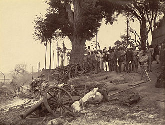 Third Anglo-Burmese War - Minhla, after its capture by the British, mid-November 1885, showing death and devastation. Photographer: Hooper, Willoughby Wallace (1837–1912).