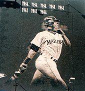 ed7a1520bc A mural of Ken Griffey Jr. in downtown Seattle from the strike-shorted 1994  season. The tick-marks represent his homeruns up to the time of the strike,  ...