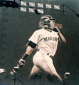 Ken Griffey Jr. - A mural of Ken Griffey Jr. in downtown Seattle from the strike-shorted 1994 season.  The tick-marks represent his homeruns up to the time of the strike, when Griffey Jr. was chasing Roger Maris's season home run record.
