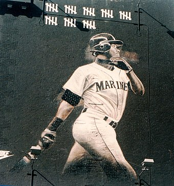 8bcaaf84c2 A mural of Ken Griffey Jr. in downtown Seattle from the strike-shorted 1994
