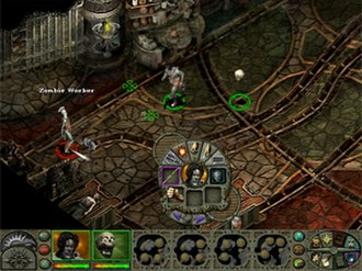 Planescape: Torment - The Mortuary room in which the game opens; visible are two player characters, a zombie, the bottom-menu, and the radial-actions menu.