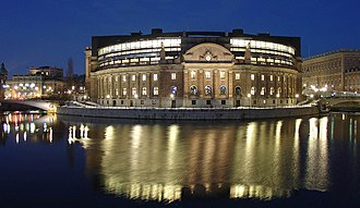 Riksdag - The Riksdag building exterior, from the west, at night.