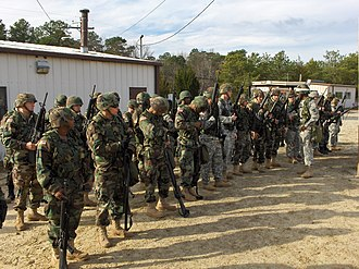 Battle Assembly - Soldiers get ready to go to the Weapons Qualification Range at Fort Dix, New Jersey