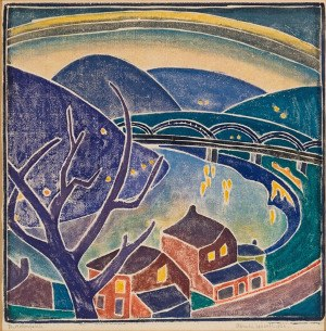 Blanche Lazzell - The Monongahela (1926) is a color woodblock print utilizing the white-line technique and depicting the Monongahela River in Morgantown