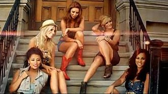 Higher (The Saturdays song) - The girls are seen in their Summer outfits, sat on the stairs of a New York building on a bright day. A reflection of the sunlight can be seen across the top of the frame.