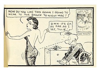 "Panel from a Tillie and Mac Tijuana bible strip drawn by ""Elmer Zilch"" Tillie-mac-pg1.jpg"