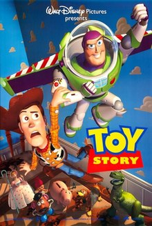 Film poster showing Woody anxiously holding onto Buzz Lightyear as he flies in Andy's room. Below them sitting on a bed are various smiling toys watching the pair, including Mr. Potato Head, Hamm, and Rex. In the lower right center of the image is the film's title. The background shows the cloud wallpaper featured in the bedroom.