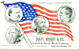 United States presidential election, 1888 - Business advertising card with an election theme