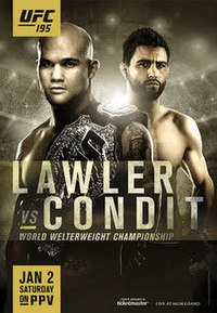 A poster or logo for UFC 195: Lawler vs. Condit.