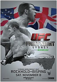 A poster or logo for UFC Fight Night: Rockhold vs. Bisping.