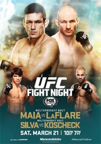 A poster or logo for UFC Fight Night: Maia vs. LaFlare.