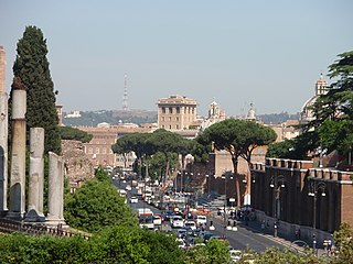 Via dei Fori Imperiali thoroughfare in Rome, Italy