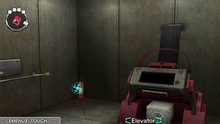 A screenshot of an Escape section room. The room contains a metal contraption with a safe, while the game cursor hovers over a fire extinguisher.