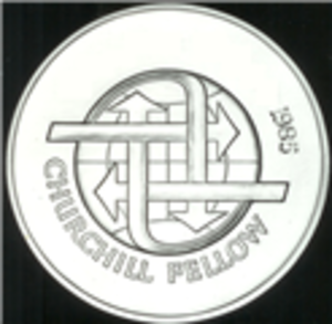 Winston Churchill Memorial Trusts - Winston Churchill Memorial Trust Fellowship Medal, Reverse, Recipient name redacted