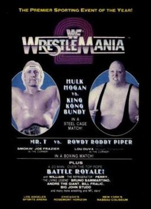WrestleMania 2 - Promotional poster featuring Hulk Hogan and King Kong Bundy