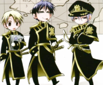07-Ghost - The main villains from left to right: Konatsu, Hyuuga and Ayanami, shown in chibi form