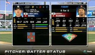 MLB 08: The Show - Pitcher-Batter analysis mode, in which the player is able to access information in game about the current hitter and pitcher.