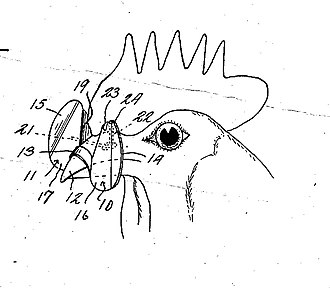 """Feather pecking - Blinders for poultry - From the U.S. Patent """"Device to prevent picking in poultry"""" filed in 1935"""