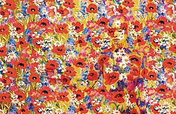 Many painted flowers with a flower-pained figure barely discernible.