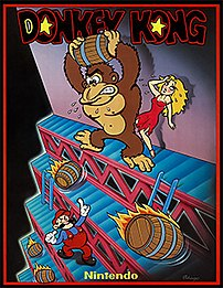 Donkey Kong promotional flier from 1981 showin...