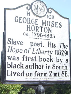 1829 in poetry - North Carolina sign commemorating George Moses Horton