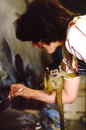 Judith Mason - Judith Mason and squirrel monkey October 1980