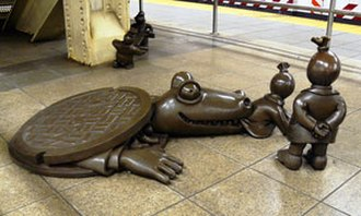 """Life Underground - Some of the """"Life Underground"""" bronze sculpture elements including the sewer alligator."""