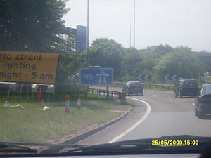 M5 motorway - M5 entrance sign at Exeter.