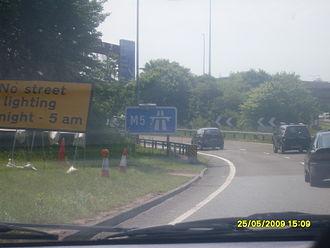 M5 motorway - M5 entrance sign at Exeter.