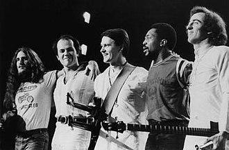 Mahavishnu Orchestra - At New York Philharmonic Hall, December 1973, (l-r) Jerry Goodman, Jan Hammer, John McLaughlin, Billy Cobham, Rick Laird