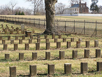 McGavock Confederate Cemetery - McGavock Cemetery with Carnton in background