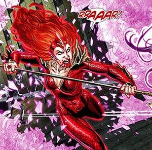 Mera (comics) - Red Lantern Mera attacking Wonder Woman. Art by Nicola Scott.