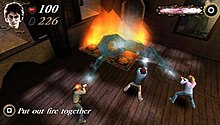 The multiplayer component. In this screenshot, three players control the three protagonists casting a spell.