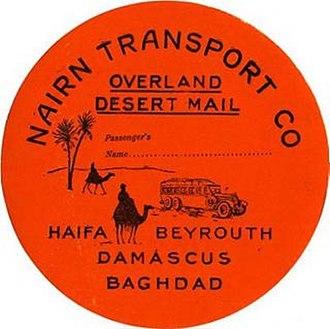 Nairn Transport Company - A Nairn Transport Company luggage label