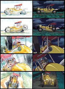 A comparison of the drawn storyboard and final animated version of a sequence in the game. The player character is driving a vehicle, and one of the wheels falls off, causing him to swerve.