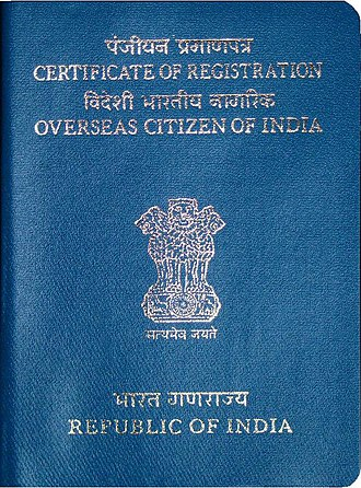 Indian nationality law - Front Cover of an OCI Card. Note: While it resembles a passport, it is not a passport nor does it confer actual Indian citizenship.