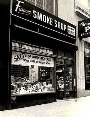 Famous Smoke Shop - Famous Smoke Shop's original retail store located at 1433 Broadway, New York City, founded in 1939.