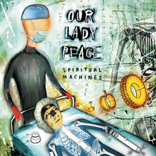 Against a busy bluish background, a slender faceless figure in a surgical mask stands at the head of a gurney in which a startled looking man lays looking at some sort of floating apparatus. His body is seen as an x-ray, showing both human bones and mechanical elements. The band's name and the name of the album appear top and center.