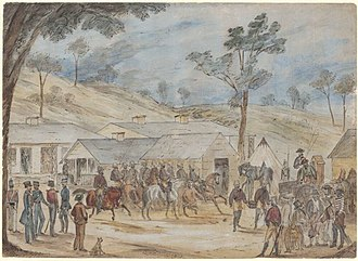 Gold Escort - A pen and ink watercolour painting of the Gold Escort in Victoria by W. Drummond (1852)
