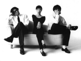 Pizzicato Five in the early 1990s. From left: Yasuharu Konishi, Maki Nomiya, Keitarō Takanami