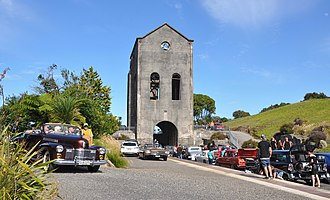Waihi - Cornish Pumphouse (1903) in its current location during the annual Waihi Beach Hop Warm Up Party.