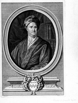 Nicolas Tindal - An engraving based on Knapton's portrait.. The Tindal arms shown are those of Deane, whom the Tindal/Tyndale family represent, together with the ancient crest of Tyndale