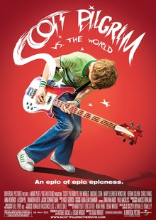 A pink-haired girl named Ramona, standing back to back with a man in a red t-shirt, Scott Pilgrim. Behind them pictures of her seven evil exes.