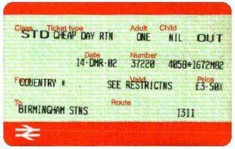"""Shere FASTticket - Travel ticket printed in the """"original"""" format - note the different font."""