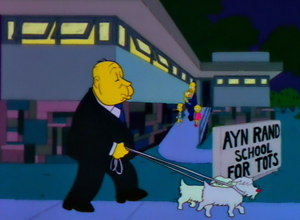 A Streetcar Named Marge - Alfred Hitchcock walking his dogs, a reference to his cameo in The Birds