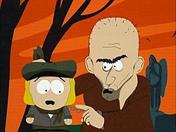 Screenshot of the character Pip, encountering an escaped convict, who grabs Pip by his collar.