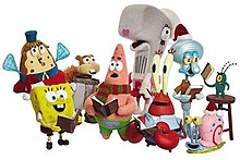 Illustration of the show's character models with SpongeBob on the left