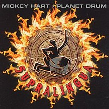 A human figure, kneeling, playing a large drum, and singing, in front of a circular series of pictograms surrounded by a ring of fire