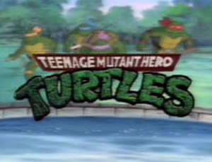 "Teenage Mutant Ninja Turtles (1987 TV series) - The logo in the edited UK opening sequence, which was also used in a few other countries. Image taken from the season 2 episode ""The Incredible Shrinking Turtles""."